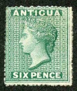 Antigua SG8 1863 6d Green Rough Perf 14 to 16 wmk Star M/Mint