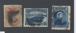 3x Newfoundland Rouletted Stamps; #37-1c #39-3c #40-5c Guide Value = $80.00