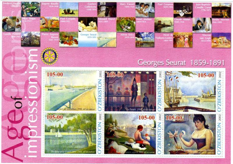UZBEKISTAN 2002 Georges Seurat Paintings Sheet Perforated mnh.vf