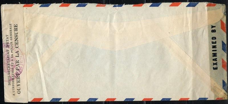 HAITI PORT-AU-PRINCE  1945 CENSORED COVER TO NEW YORK UNITED STATES