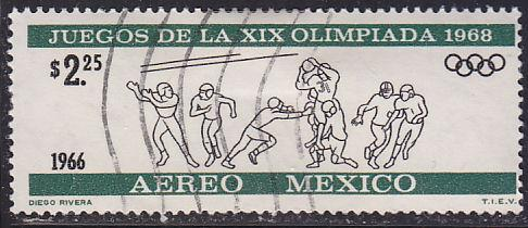 Mexico C319 Hinged Used 1966 Olympic Football