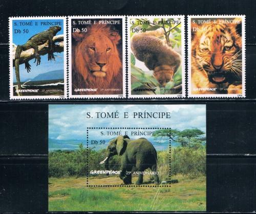 St. Thomas and Prince Islands 1237-42 Set and SS MNH Animals (S0143)