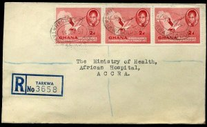 Ghana 1957 2d Independence x3 Registered Tarkwa to Accra