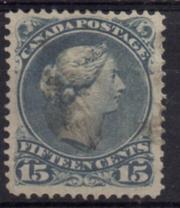Canada Sc 30 1868 15  large Queen Victoria stamp used