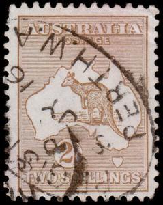 Australia Scott 11, Brown (1913) Used F-VF, CV $140.00 M
