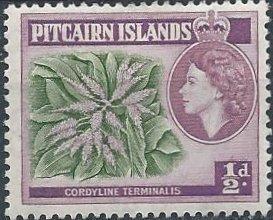 Pitcairn Islands 20 (mh) ½p Elizabeth II & ti plant, lilac & grn (1957)