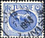 Tunisia 1953: Sc. # 223; O/Used Single Stamp