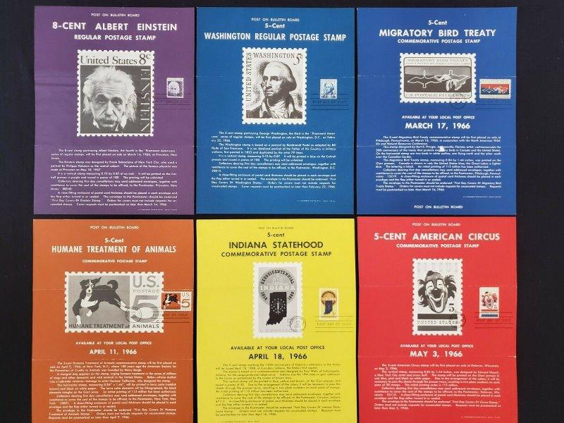 1964,65,66 Vintage USPS Bulletin Board Poster Folded w/ FDI Cancel Lot of 10 (2)