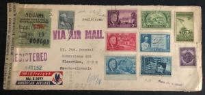 1951 USA Censored Airmail Cover To Klanovice Czechoslovakia