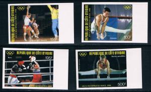 Ivory Coast SC C115-C118 1988 Summer Olympics,Seoul-Boxing-GymnRings etc.Imperfs