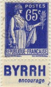 FRANCE - 1937 Pub BYRRH (encourage) inférieure sur Yv.365b 65c Paix - obl. TB