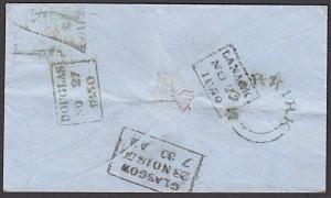 GB SCOTLAND 1850 cover - scarce MUIRKIRK Scots local namestamp.............27749