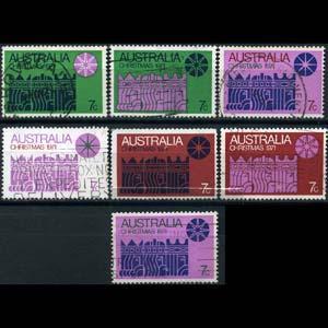 AUSTRALIA 1971 - Scott# 508 Xmas Set of 7 Used Thin w/hole