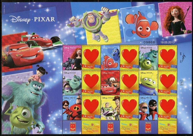 ISRAEL 2013   DISNEY PIXAR TOY STORY CARS NEMO MONSTERS  SHEET MINT NH