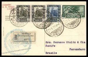 Tripolitania 1933 Libya Italy 10L Graf Zeppelin Rome 2nd SAF Brazil Cover 91878