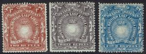 BRITISH EAST AFRICA 1890 LIGHT AND LIBERTY 2R 3R AND 4R