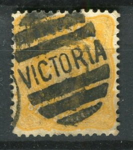 AUSTRALIA; VICTORIA 1890s-1900 early QV issue used 1s. value + POSTMARK