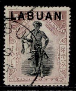 NORTH BORNEO - Labuan QV SG89, 1c dull claret, FINE USED.