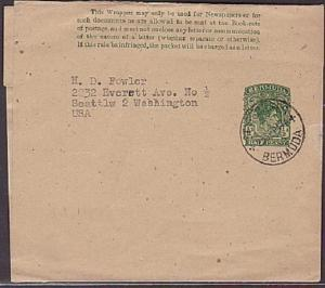 BERMUDA GVI ½d newspaper wrapper used St Georges 1947............35388