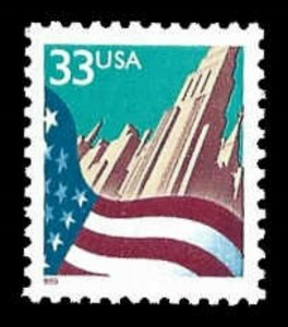 US #3277 33c Flag & City, MNH, (PCB-35)