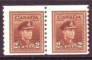 Canada Sc 279 1948 2 c brown G VI coil stamp pair mint NH