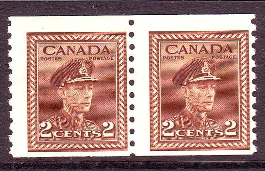 Canada Sc 279 1948 2 c brown G VI coil stamp pair mint NH