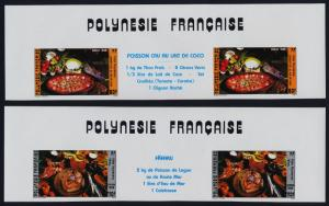 French Polynesia 423A-B imperf gutter pairs MNH Food, Fish