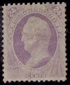 CERTIFIED US Stamp #153 24c Purple Scott USED SCV $210. PSE Cert.