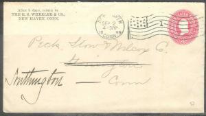 1899 (Sep 2) New Haven Conn 1 flag cancel corner card