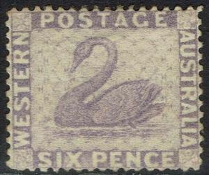 WESTERN AUSTRALIA 1882 SWAN 6D WMK CROWN CA SIDEWAYS PERF 14
