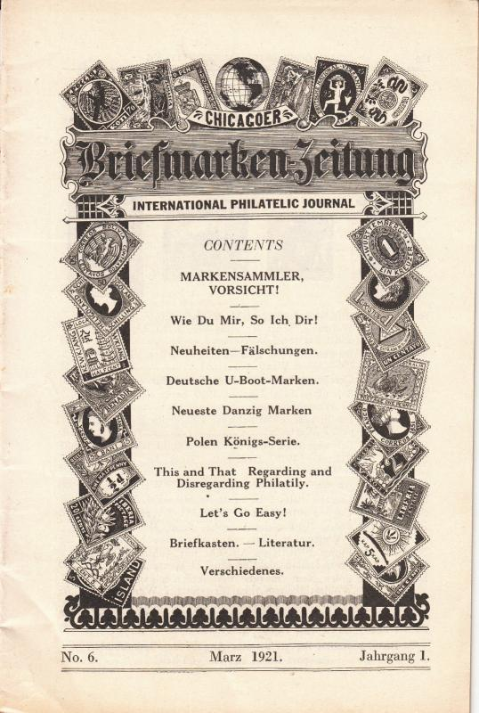 Chicagoer Briefmarken Zeitung  March 1921 #6
