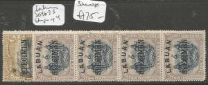 Labuan SG 96-7s Specimen Strips of 4, each 3 MNH (3clm)