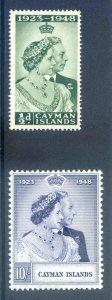 Cayman ISlands 1948 Silver Wedding SG129/30 Mounted Mint
