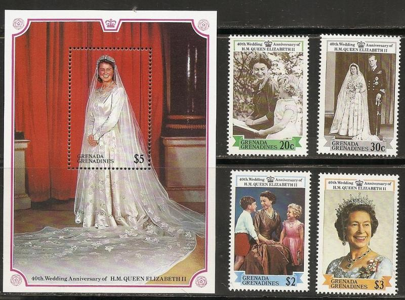 Grenada Grenadines 934-8 1988 Elizabeth 40th Wedding set ...