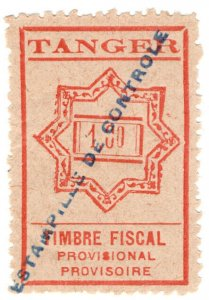 (I.B) France Colonial Revenue : Tangier Bill of Lading 1Fr (unlisted)