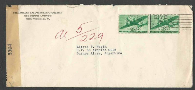DATE 1944 COVER NY TO BUENOS AIRES ARGENTINA OVER ROUTE FAM 5 OR 6 SEE INGO