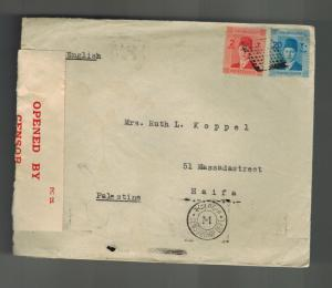 1940 Port Said Egypt Cover to Haifa Palestine w letter Captain Koppel SS Amal