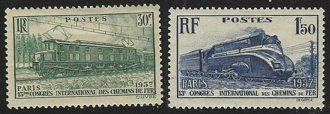 France #327-328 Mint Hinged Full Set of 2 Trains (H3)