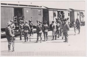 German South W Africa Photo Card 1908 Schutztruppe At Windhoek Train Station VF