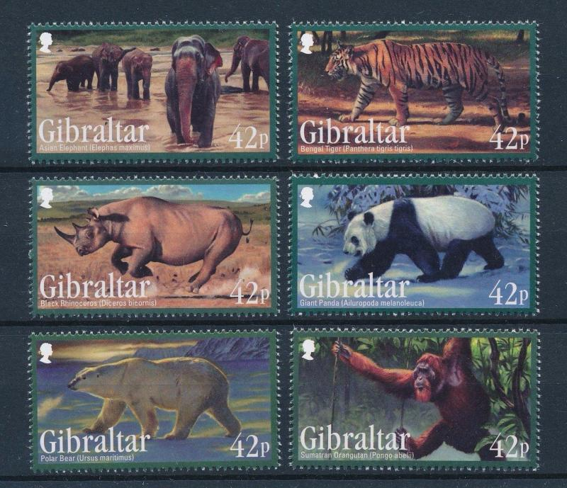 Gibraltar MNH 1284-9 Endangered Animals Wildlife 2011
