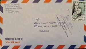 A) 1993, GUATEMALA, AMERICA UPAEP, FROM SANTA ROSA TO FINLAND, AIRMAIL, CRISTOBA