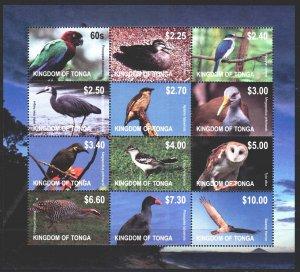 Tonga. 2012. Small sheet 1742-53. Birds, fauna. MNH.