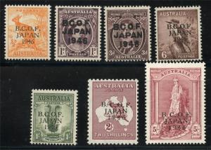 AUSTRALIA SCOTT# M1-7 SG# J1-7 MINT NEVER HINGED AS SHOWN MCM