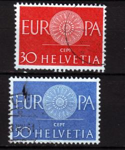 J9487 JL stamps @20% 1960 swiss used set2 #400-1 europa