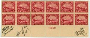 USA #C6 Airmail Block De Havilland Biplane Stamps 1923 Postage Signed Mint NH OG