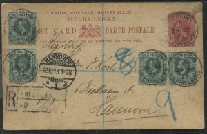 Sierra Leone KGV 1d Post Card registered with extra 1/2d's to Hanover Germany
