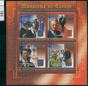 TOGO - ERROR, 2011 MISSPERF SHEET: Monarchies in Europe, Royal Families, UK, etc