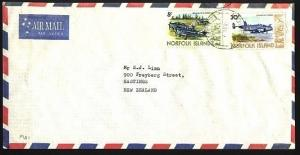 NORFOLK IS 1981 airmail cover to New Zealand - 5c & 30c planes...........95613aW