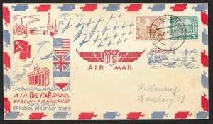 GERMANY BERLIN Sc#9N43, 44 One Year Berlin Airlift Cover cancelled 6-23-1949