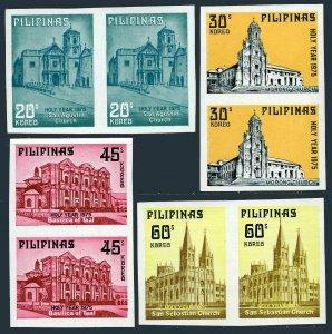 Philippines 1281a-1284a imperf pairs,MNH. Churches:San Agustin,Morong,Basilica.
